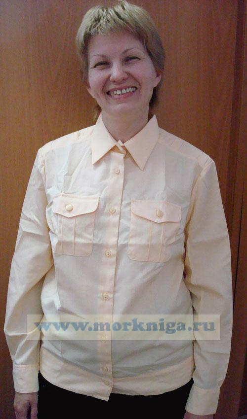 Рубашка кремовая ВМФ, офицерская женская с длинным рукавом (158-116-42 (58-1))