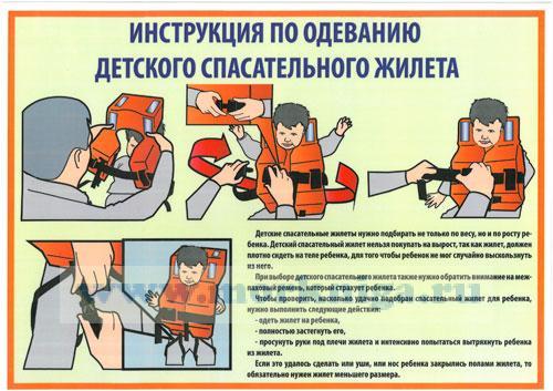 """Плакат """"Инструкция по одеванию детского спасательного жилета"""" (ламинат, формат А-3)"""