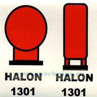 Знак ИМО. Балоны с галоном 1301 расположенные в защищаемом помещении (135)