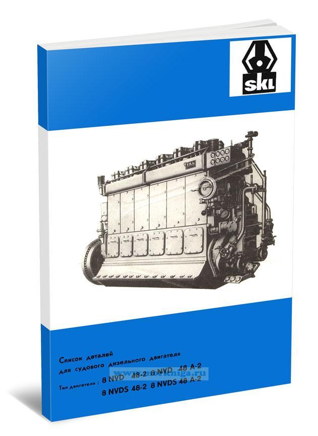 Список деталей для судового дизельного двигателя. Тип двигателя: 8NVD 48-2, 8NVD 48-A-2, 8NVDS 48-2 и 8NVDS 48-A2