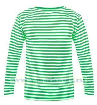 Тельняшка с длинным рукавом (лонгслив) зеленая полоса (Пограничные войска)