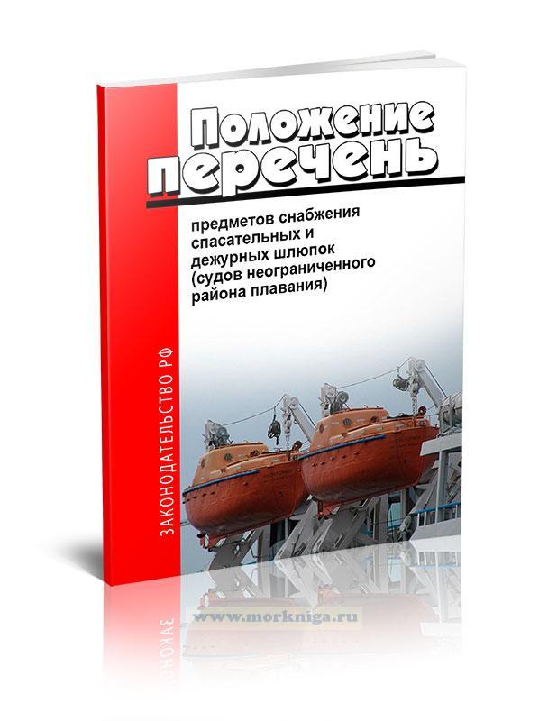 Типовой перечень предметов снабжения спасательных и дежурных шлюпок (судов неограниченного района плавания)