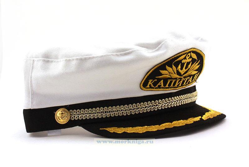 "Капитанка с вышитым шевроном ""Якорь"" (белая)"