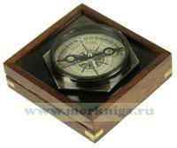 Сувенир в деревяном футляре: компас 8*8см