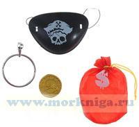 Повязка на глаз пиратская с мешком для денег и монетой