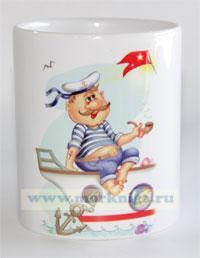 Кружка Моряк на лодке с трубкой