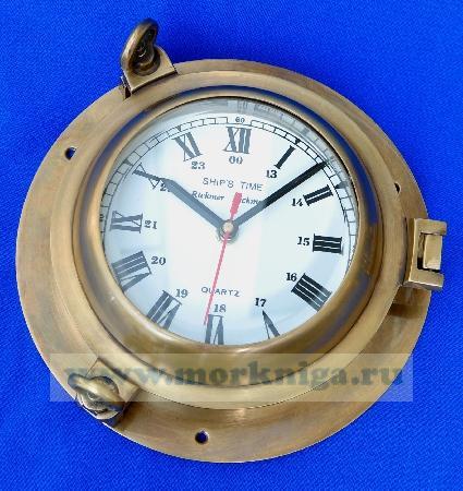 Хронометр морской в иллюминаторе из бронзы и латуни