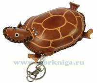 Брелок-ключница Черепашка, натур. кожа 8*10см