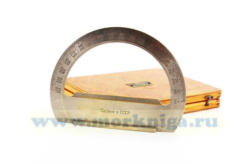 Транспортир штурманский металлический в деревянной коробке б/у