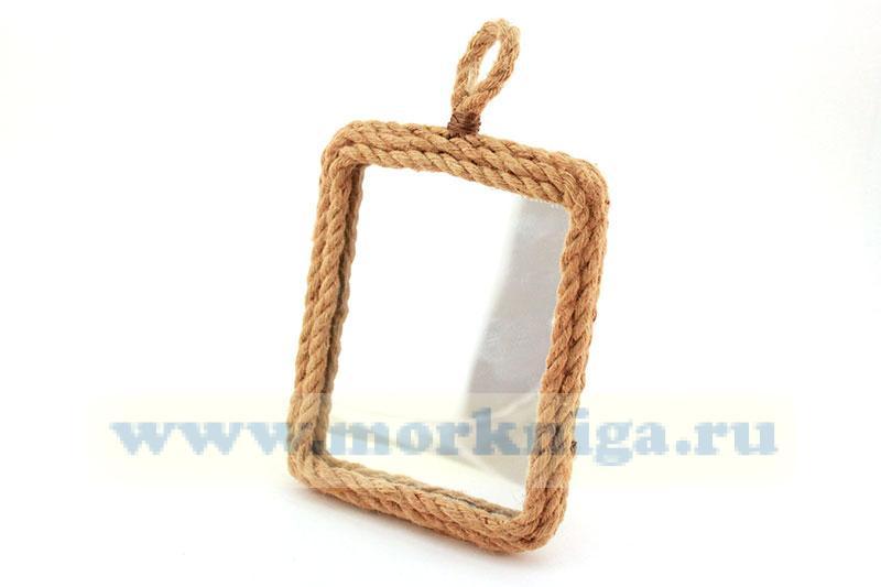 Зеркало в плетеной раме (простая петелька)