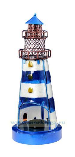 Маяк подсвечник синий, высота 32 см