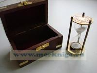 Часы песочные 3 мин. в деревянном футляре (13*7*7 см)