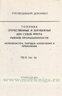 Топлива отечественные и зарубежные для судов флота рыбной промышленности. РД 15.136-90. Номенклатура. Порядок назначения и применения.