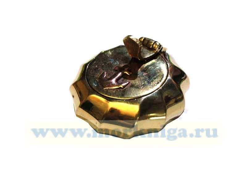 Пепельница латунная с ребристым корпусом и крышкой - якорь