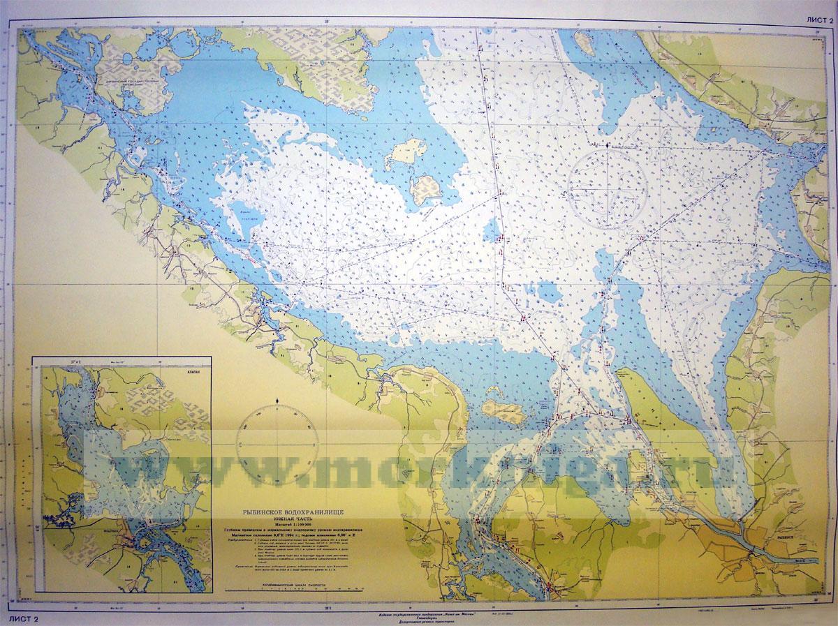 Карта Рыбинского водохранилища (настенная)