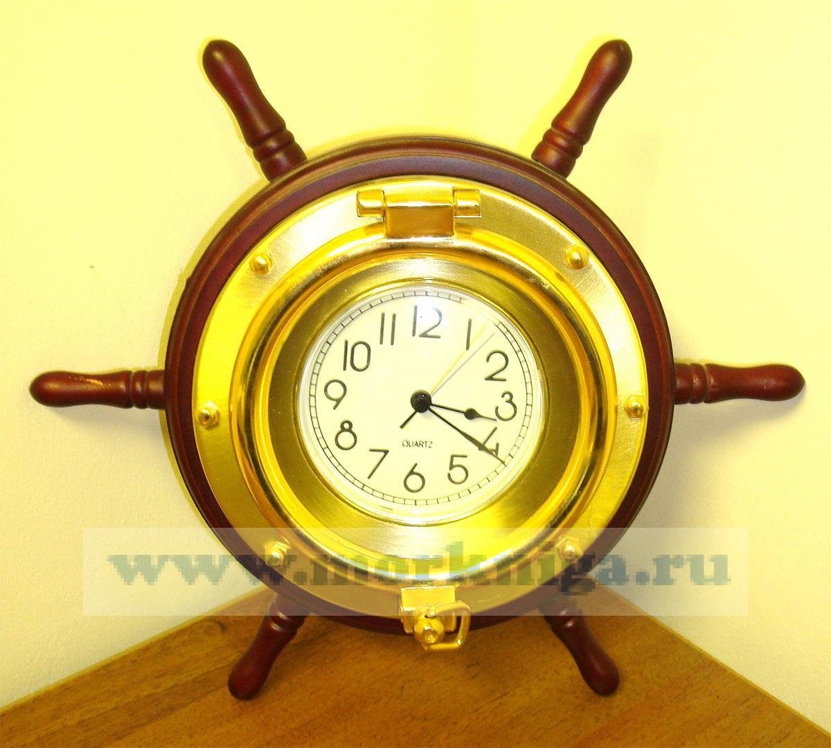 Часы-штурвал корабельные