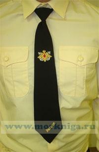 Галстук ВМФ, черный с вышивкой (орел с якорями)