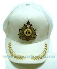 Бейсболка белая с краб ВМФ СССР ручной вышивкой