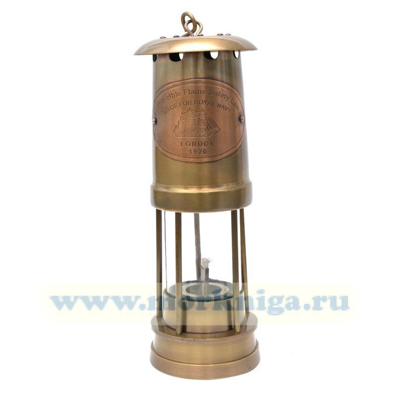 Лампа безопасная Permissible Flame Safety Lamp London 1920 высотой 25см