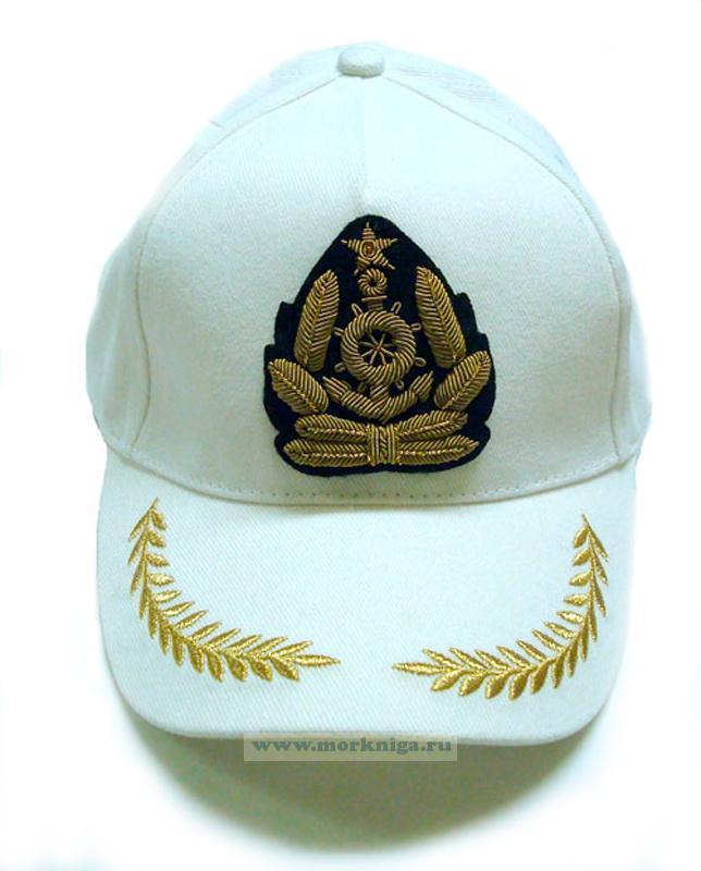 """Бейсболка белая """"Краб морской флот"""" с ручной вышивкой, вышитый козырек"""