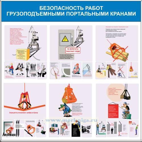 """Плакат """"Безопасность работ грузоподъемными портальными кранами (ламинат, 950х950 мм)"""