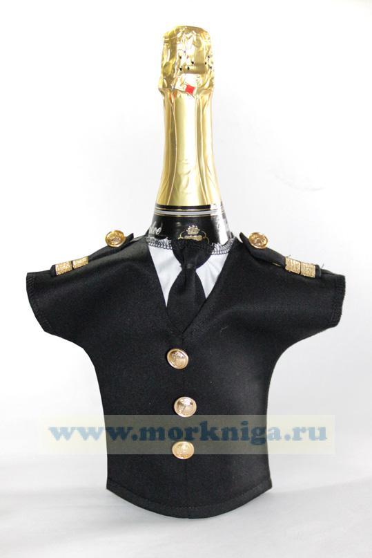 Рубашка на бутылку (ВМФ России с галстуком, черная, погон с якорем)