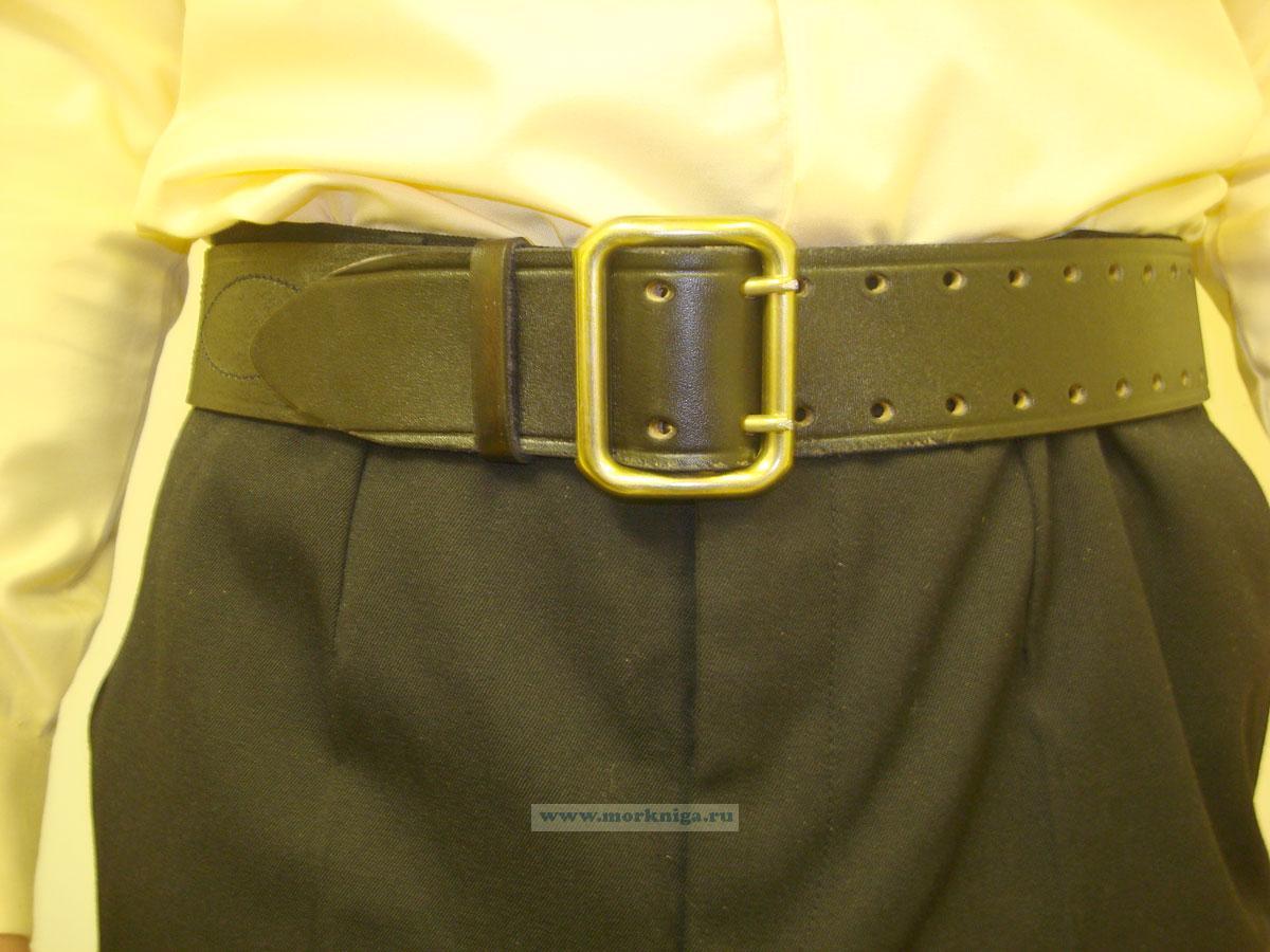 Ремень офицерский кожаный черный
