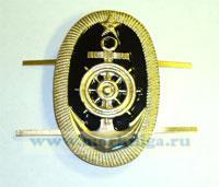 Кокарда речников овальная (якорь, штурвал, звезда) на двух клямерах