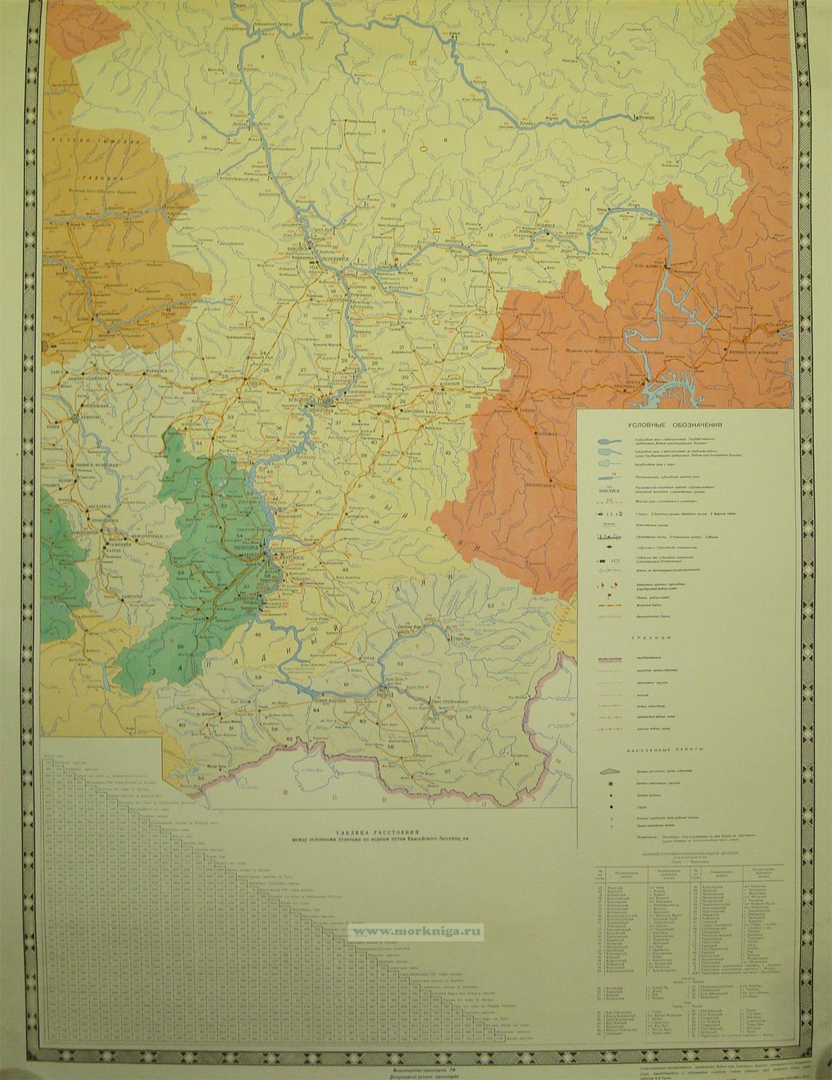 Схема водных путей Енисейского бассейна