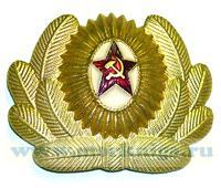 Кокарда офицера Советской Армии (звезда в белом круге, серп и молот, с дубами)