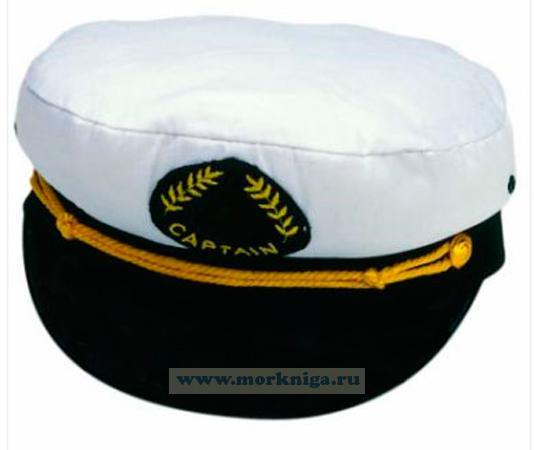 """Капитанка с шевроном """"CAPTAIN"""" белая размер 56-60 в ассортименте"""