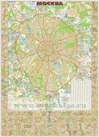 Москва с автодорожными развязками 1:34 000 (капс. глянц.) 142х197 см