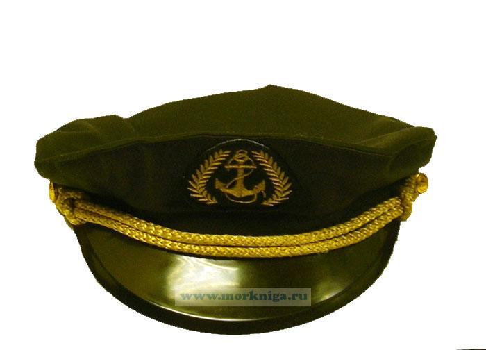 """Капитанка с шевроном """"Якорь"""" черная, лаковый козырек"""