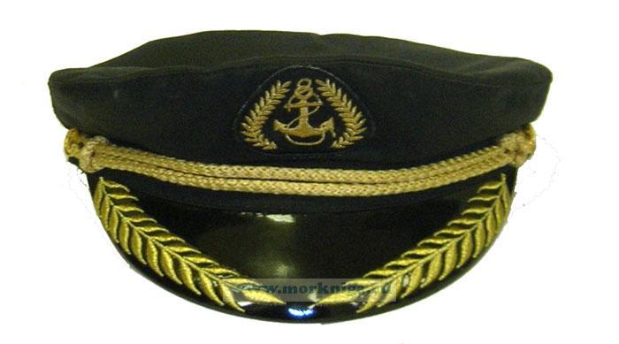"""Капитанка с шевроном """"Якорь"""" черная, вышитый козырек"""