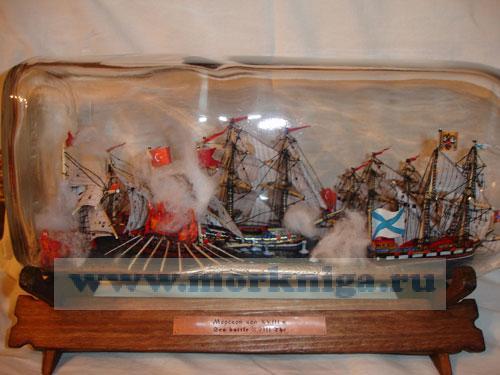 Корабль в бутылке. Морской бой XVIII в.