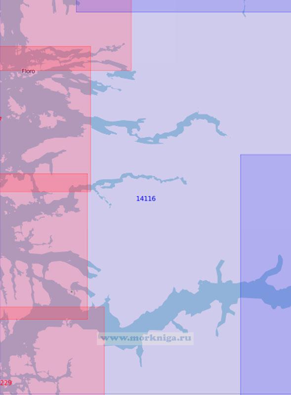14116 Западная часть Согне-фьорда, Далс-фьорд, Вевринг-фьорд и Фёрде-фьорд (Масштаб 1:100 000)