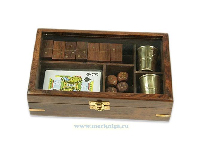 Подарочный набор отставного моряка: домино, игральные карты, кости, 2 стаканчика 22*14*5см
