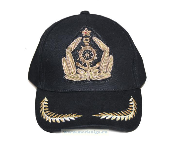 """Бейсболка черная с крабом """"Морской флот"""" с ручной вышивкой, черная"""