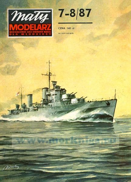 """Журнал """"Maly modelarz"""". Легкий крейсер HMS """"Penelope"""" из бумаги и картона (7-8, 1987 г)"""