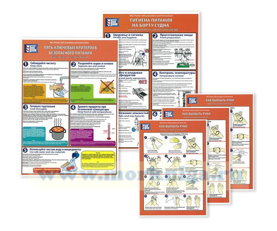 Комплект плакатов в соответствии с требованиями КТМС-2006 (Правило и стандарт 3.2) и ВОЗ в отношении гигиены и санитарии на судах