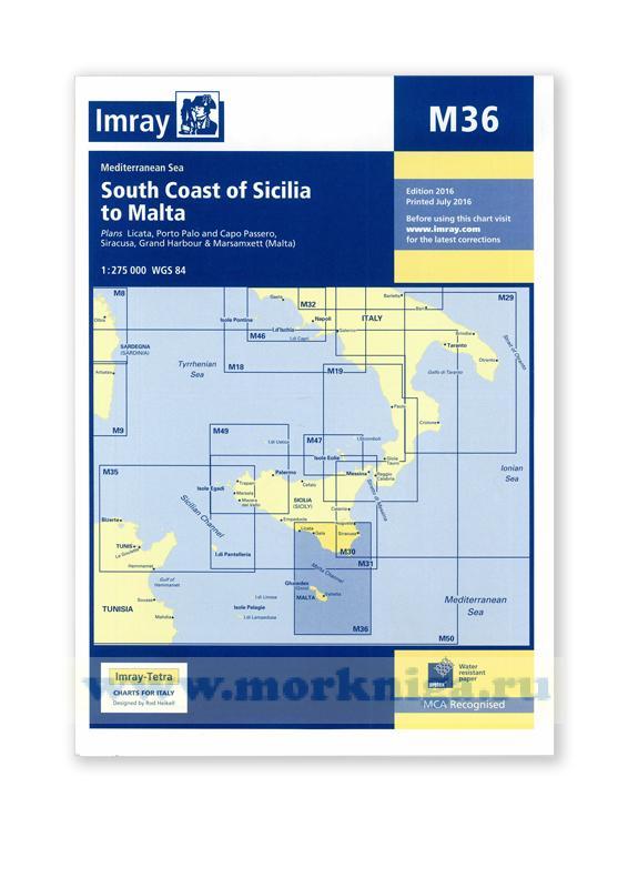 M36 South Coast of Sicilia to Malta От Южного побережья Сицилии до Мальты (1:275 000)