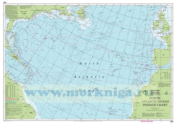 Chart 100 North Atlantic Ocean Passage Chart Северная часть Атлантического океана (1:7 620 000)