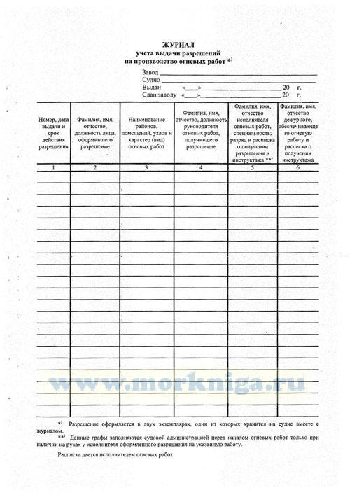 Журнал учета выдачи разрешений на производство огневых работ (судовой)