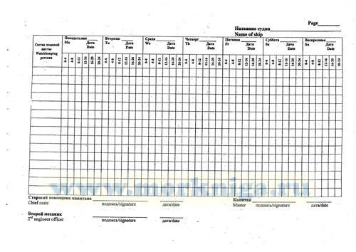 Журнал учета сверхурочных работ ходовой вахты. Log for records of working periods (over watch schedules) of watchkeeping