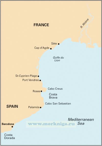 M14 Barcelona to Bouches du Rhone. Побережье Испании от Барселоны до Буш-дю-Рон (1:440 000)