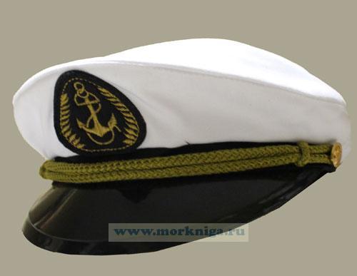 """Капитанка с шевроном """"Якорь"""" белая, пластиковый козырек (горчица)"""