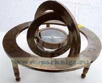 Компас магнитный в Армилярной сфере бронзовый