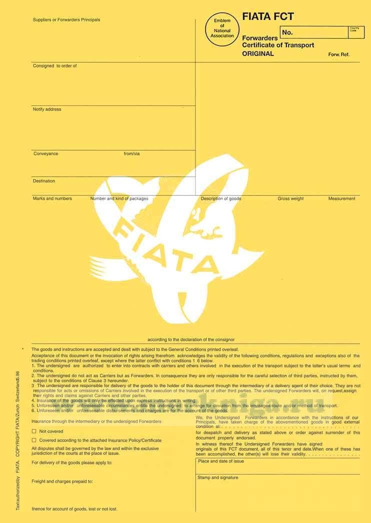 Экспедиторский сертификат перевозки - FIATA FCT Forwarders Certificate of Receipt