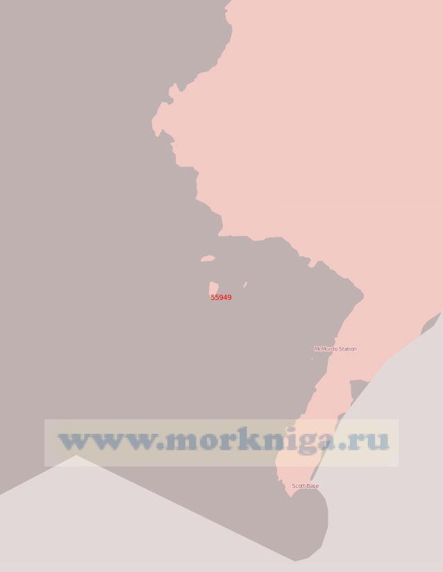 55949 Море Росса. Подходы к полярным станциям Мак - Мердо и Скотт - Бейс (Масштаб 1: 75 000)