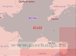 61102 От порта Циньхуандао до мыса Чэншаньцзяо с Ляодунским полуостровом (Масштаб 1:500 000)